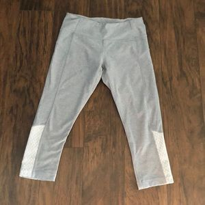 Grey and white workout capris